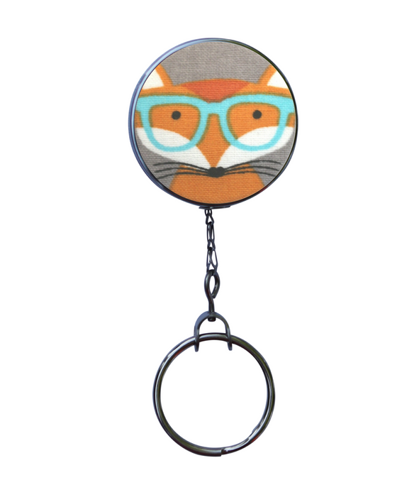 Retractable ID Badge Reel - Fox with Turquoise Glasses