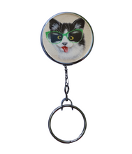Funny Cat With Green Glasses Retractable ID Badge Reel