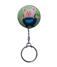 Retractable ID Badge Reel - Blue Little Pig