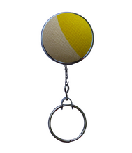 Retractable ID Badge - Yellow and Canvas Geometric Pattern