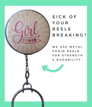 Girl Power Retractable ID Badge Reel