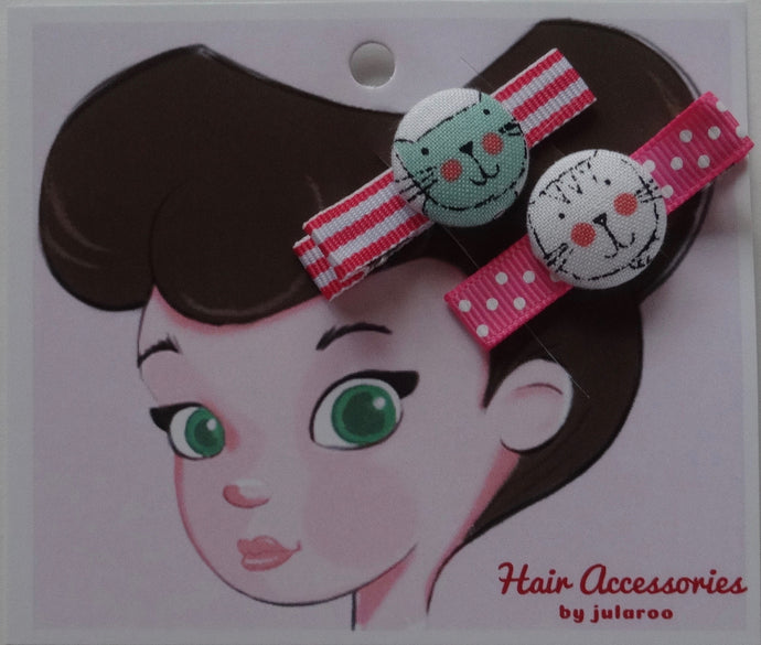 Mint Green and White Cat Hair Clips