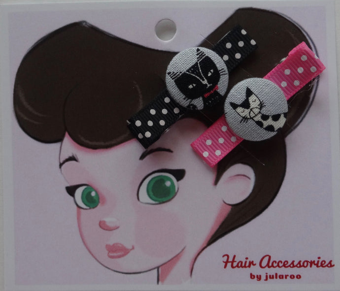 Grey and Black Cat Hair Clips