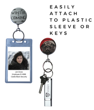 Retractable ID Badge - Silver and Canvas Geometric Pattern