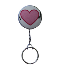 Retractable ID Badge Reel - Outlined Heartbeat Pattern