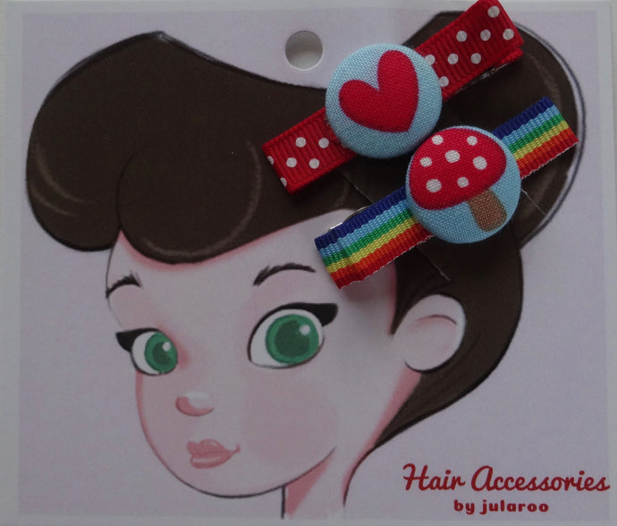 Heart and Toadstool Hair Clips