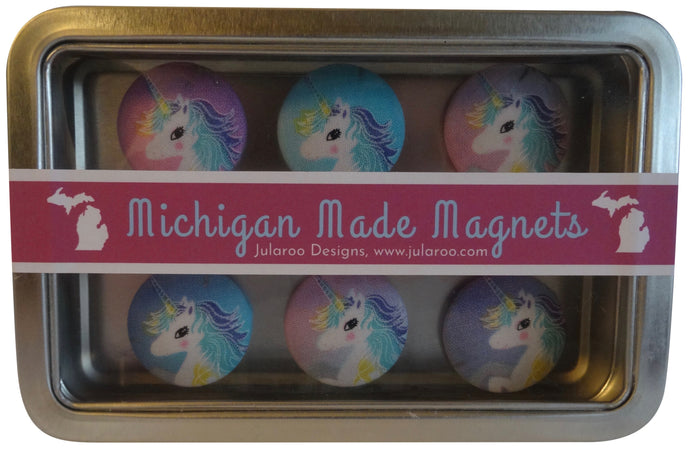Pink and Purple Unicorn Magnets Set of 6