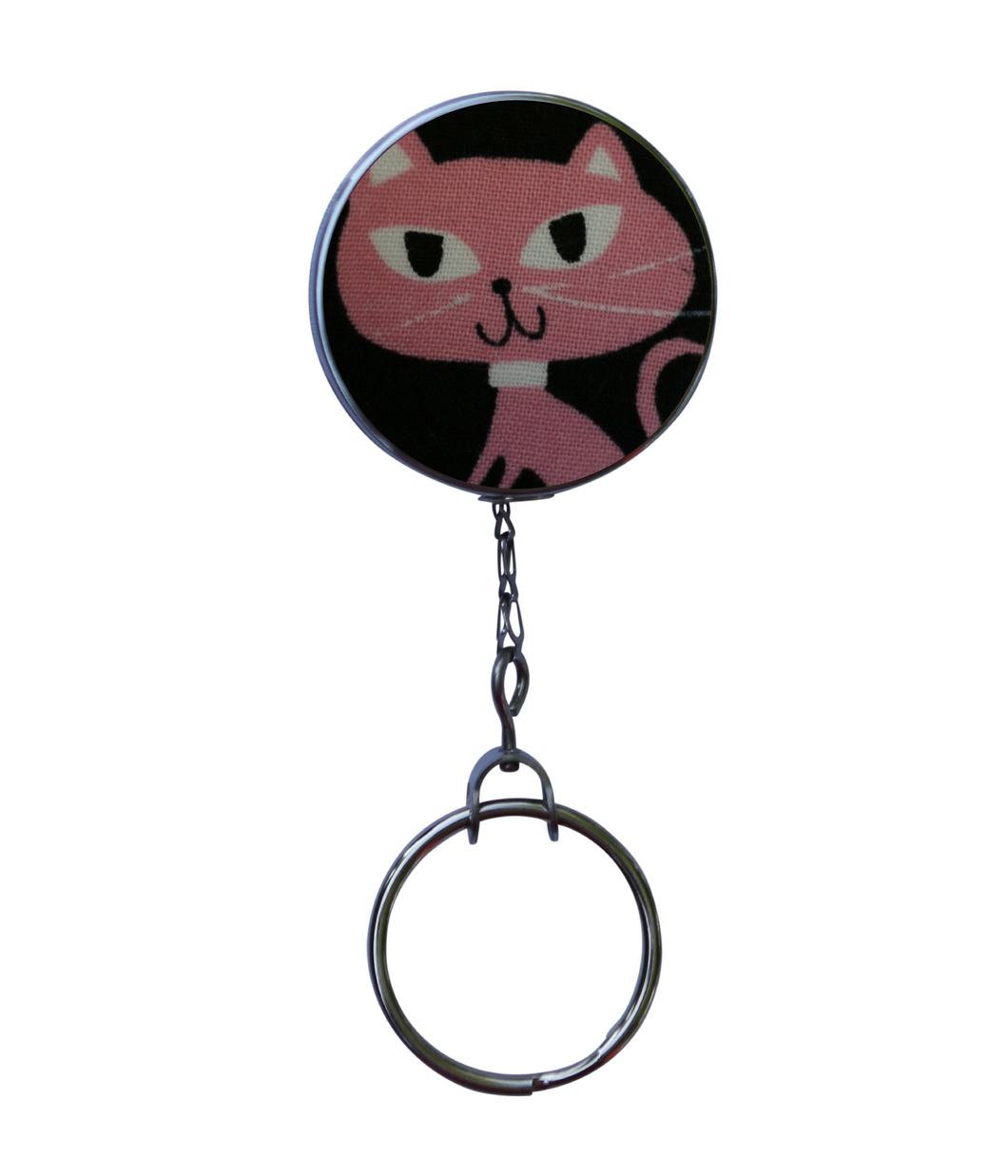 Retractable ID Badge Reel - Pink Cat