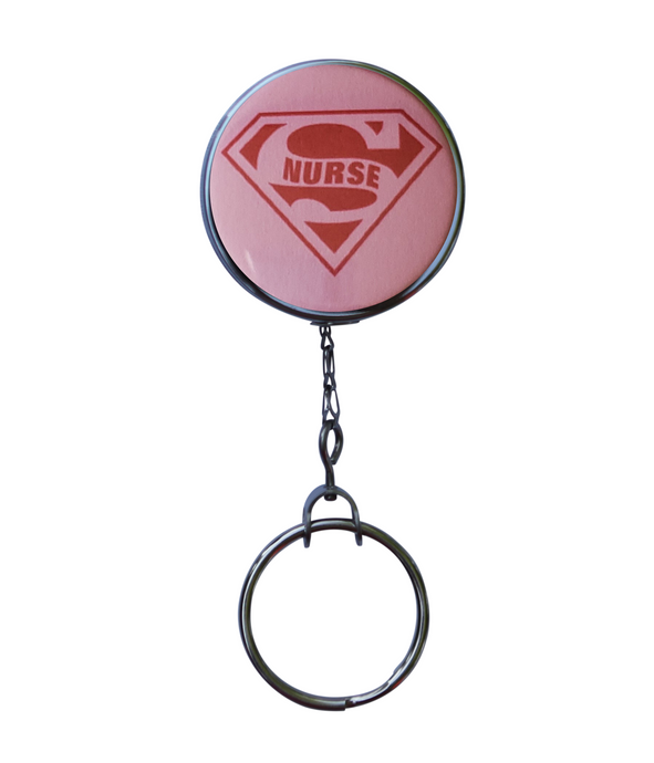 Pink Super Nurse Retractable ID Badge Reel