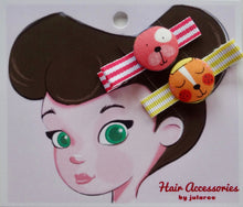 Pink and Yellow Cat Hair Clips