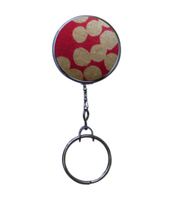 Japanese Pink Linen Fabric Office ID Badge Reel