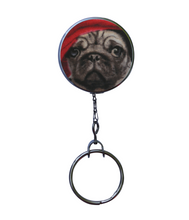 Retractable ID Badge Reel - Pug Wearing Hat