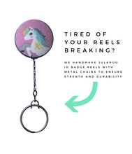 Retractable ID Badge Reel - Purple Unicorn