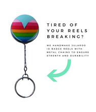Retractable ID Badge Reel - Rainbow Love Heart
