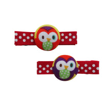 Red and Purple Owl Hair Clips