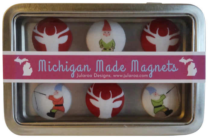 Holiday Reindeer and Christmas Elf Magnets Set of 6