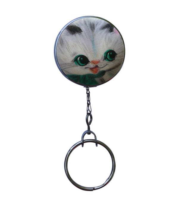 Retractable ID Badge Reel - Retro Cat With Green Scarf