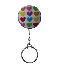 Retractable ID Badge Reel - Rainbow With Mini Love Hearts
