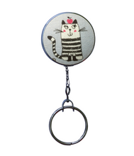 Retractable ID Badge Reel - Black and White Striped Cat