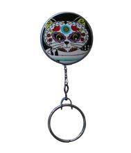 Retractable ID Badge Reel - Sugar Skull Cat With Purple Eyes