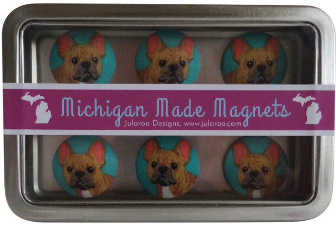 Turquoise Frenchie Dog Magnets Set of 6