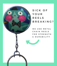 Retractable ID Badge Reel - Turquoise Jazz Cat