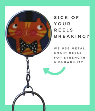 Orange Jazz Cat Retractable ID Badge Reel