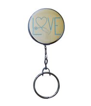 "Yellow ""Love"" Stethoscope Retractable ID Badge Reel"