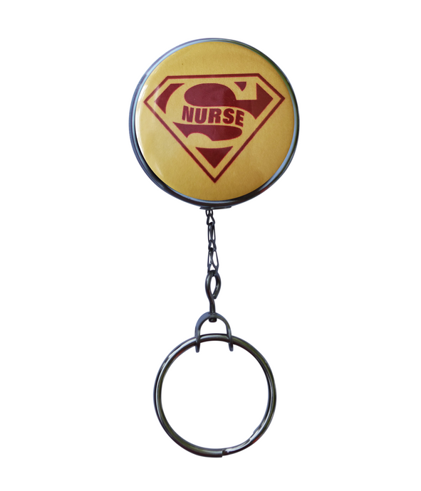 Super Nurse Yellow Retractable ID Badge Reel