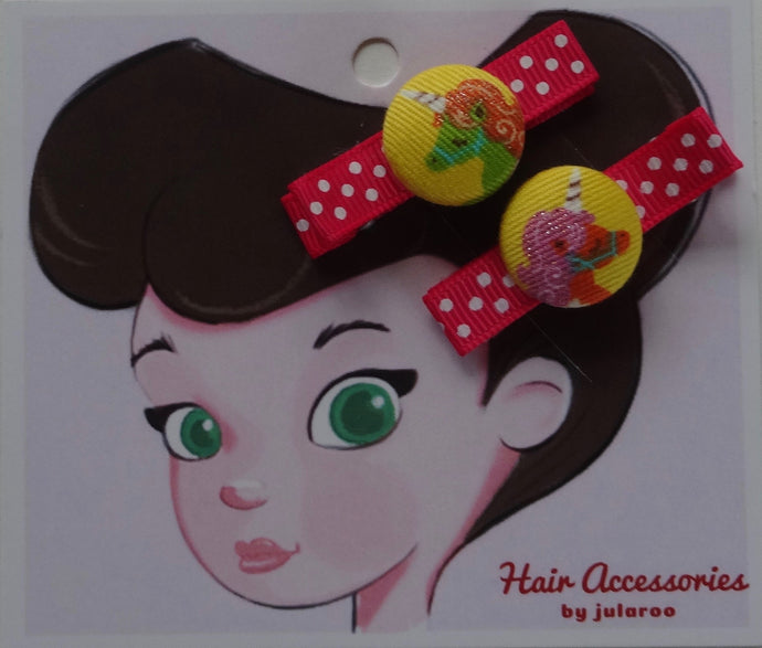 Yellow Unicorn Hair Clips