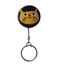Retractable ID Badge Reel - Yellow Mr. Whiskers Cat