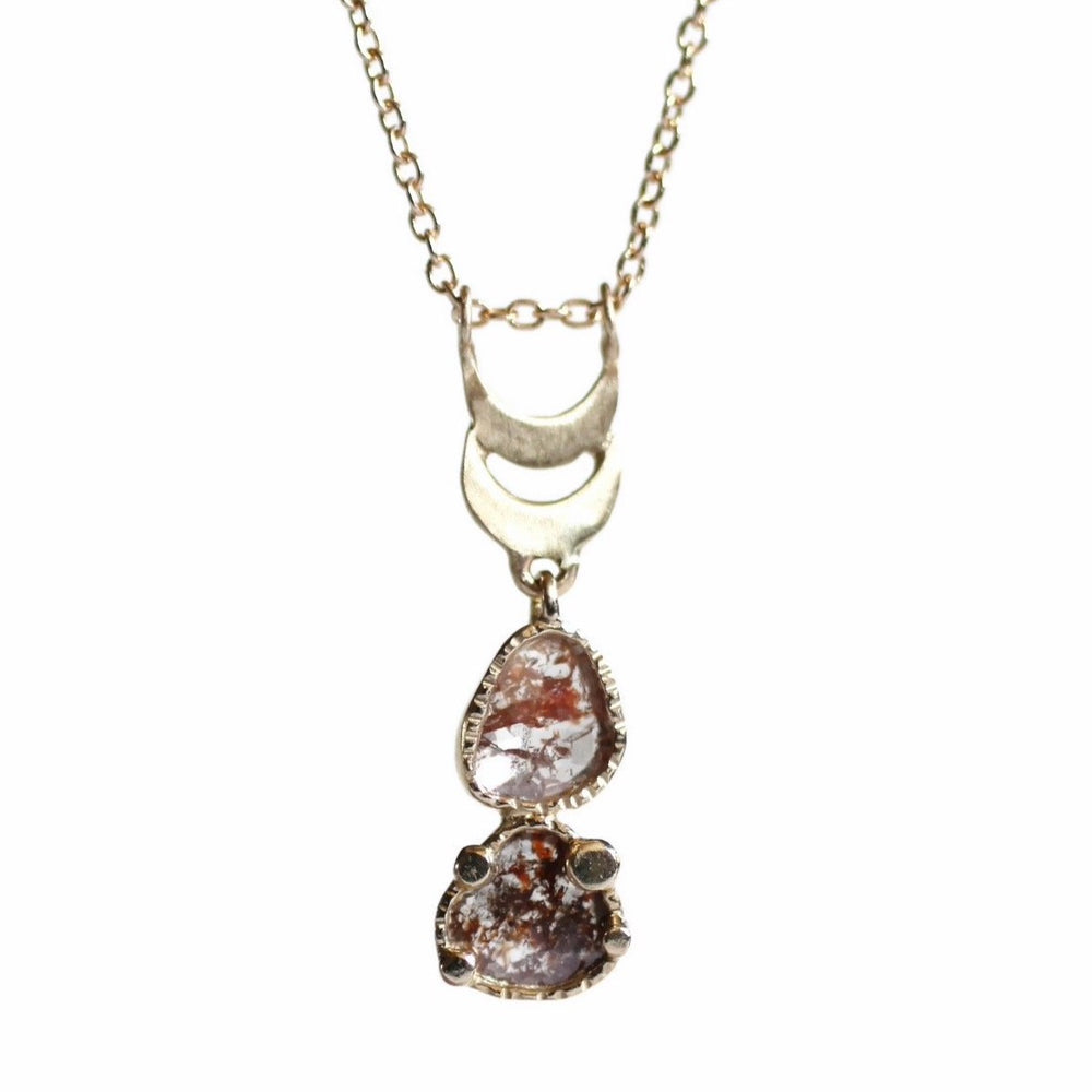Twin Moon Diamond Slice Necklace -Red Rock