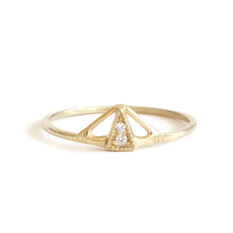 Small Pyramid Diamond Ring