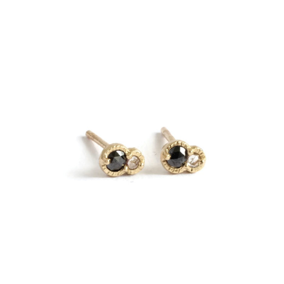 Twin Diamond Studs -Black&White