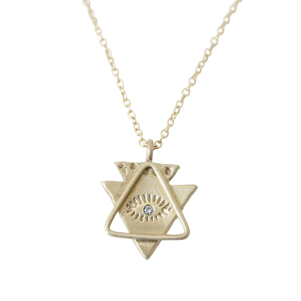 Load image into Gallery viewer, Spirit Eye + Triangle Necklace