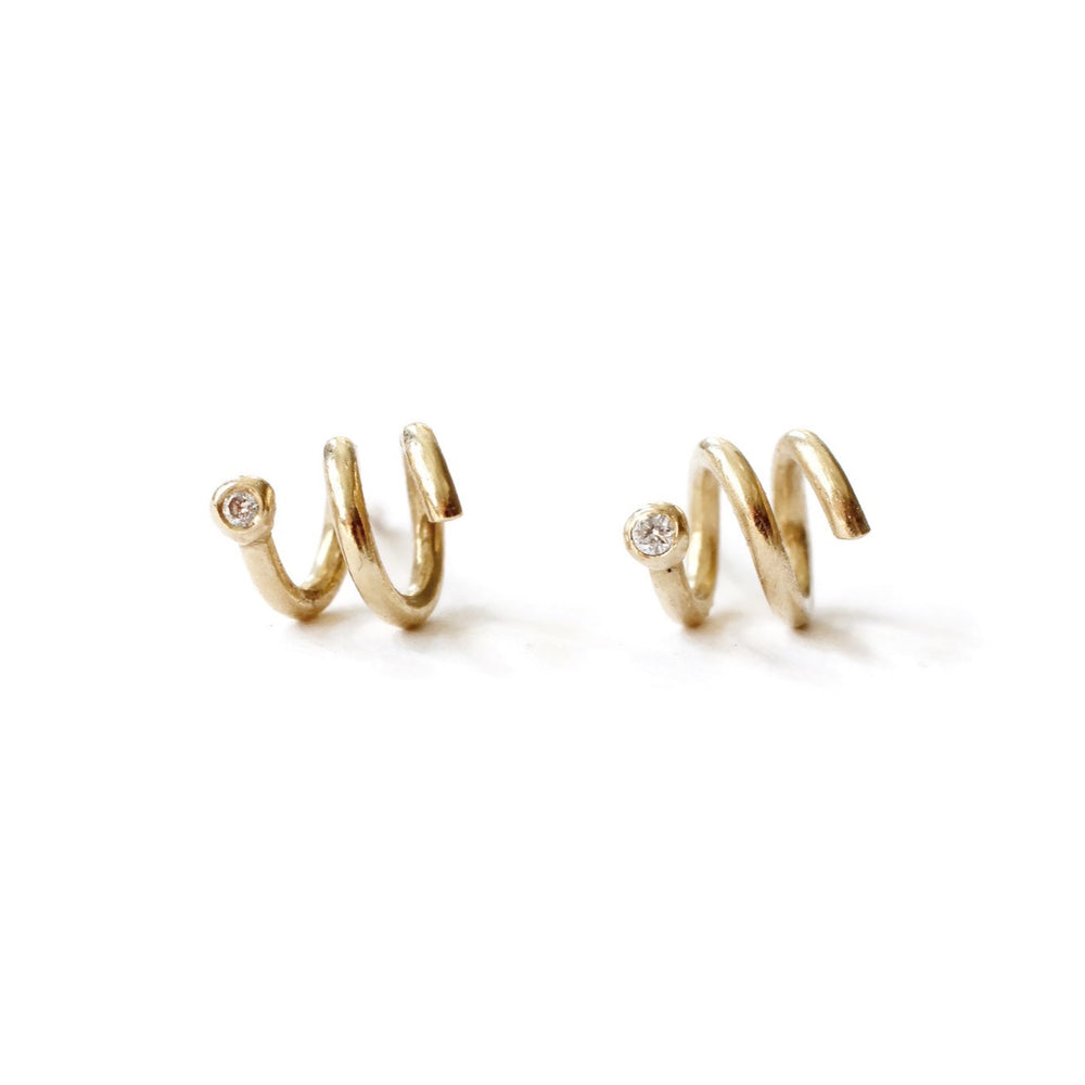 Load image into Gallery viewer, Coiled Diamond Studs -Pair