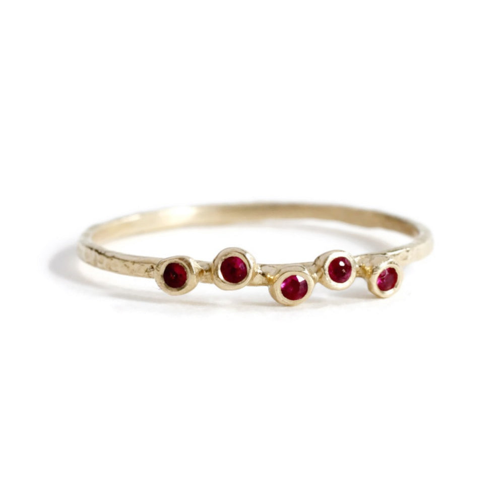 5 Ruby Hammered Ring