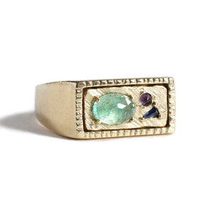 Wholesale Collage Signet Ring (Small) -Green -R124YG, R124RG, R124WG