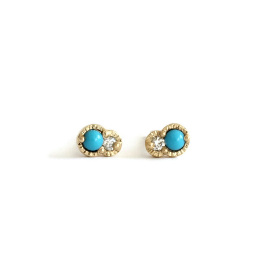 Twin Diamond Studs -White&Turquoise