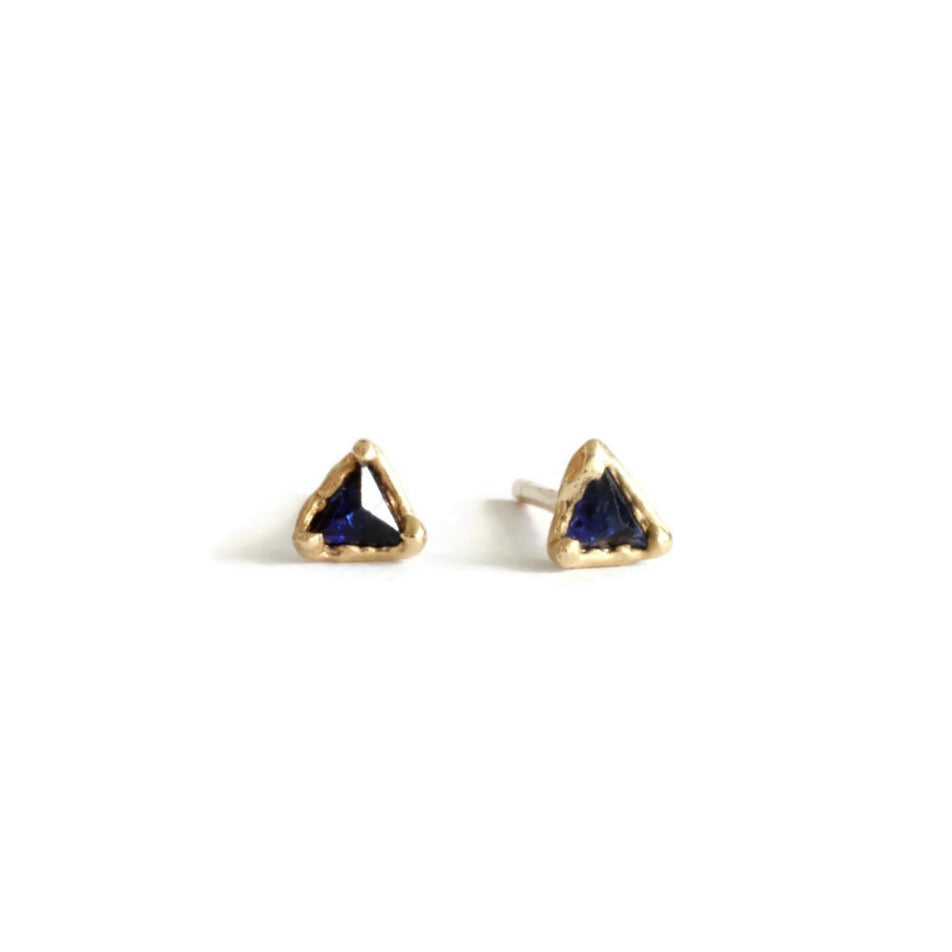 Load image into Gallery viewer, Triangle Sapphire Studs (Limited Edition)