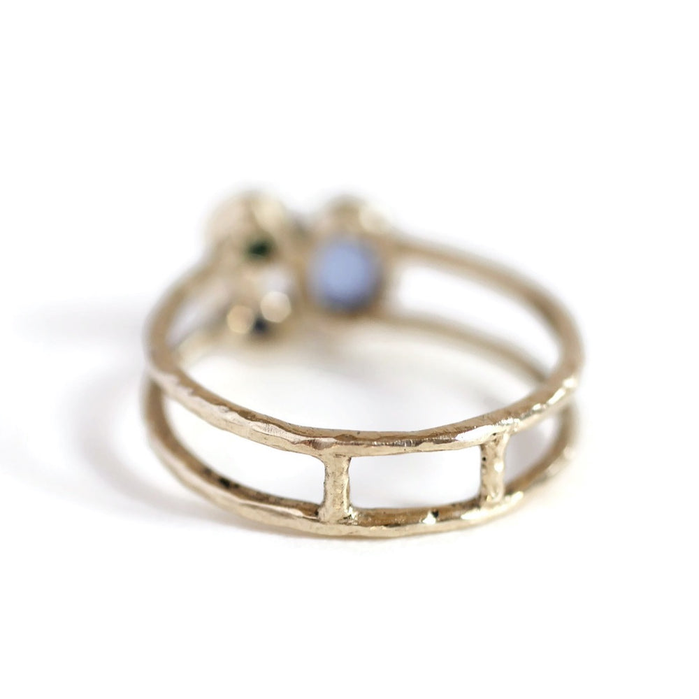 Load image into Gallery viewer, Stacking Stone Ring -Ocean Size 6.5