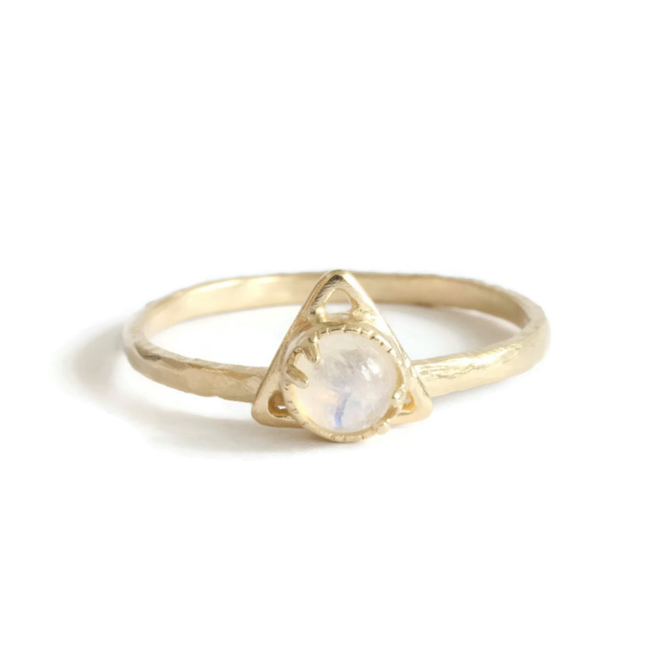 Good Change Triangle Moon Stone Ring -Size 7