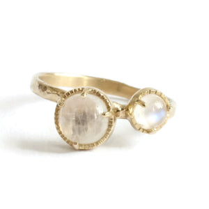 Load image into Gallery viewer, Wholesale Twin Moon Ring -R103YG, R103PG, R103WG