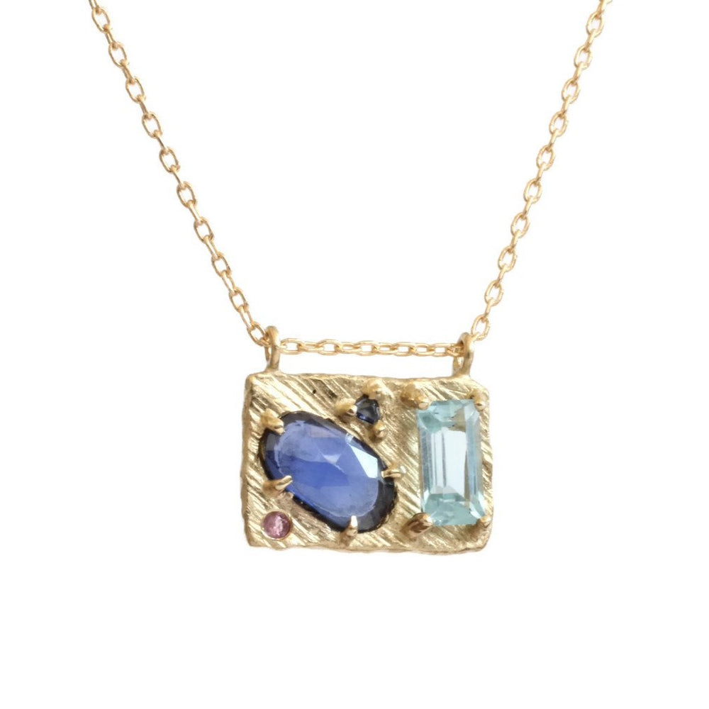 Collage Necklace (Medium) -Blue Drop