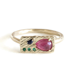Collage Ring (Small) -Pink drop