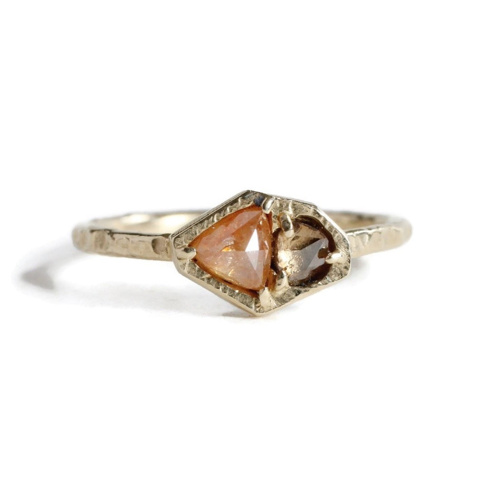 Geometric Duo Diamond Ring -Orange/Champagne -Size 6