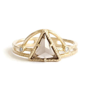 Power Triangle Ring -Champagne -Size 6 3/4
