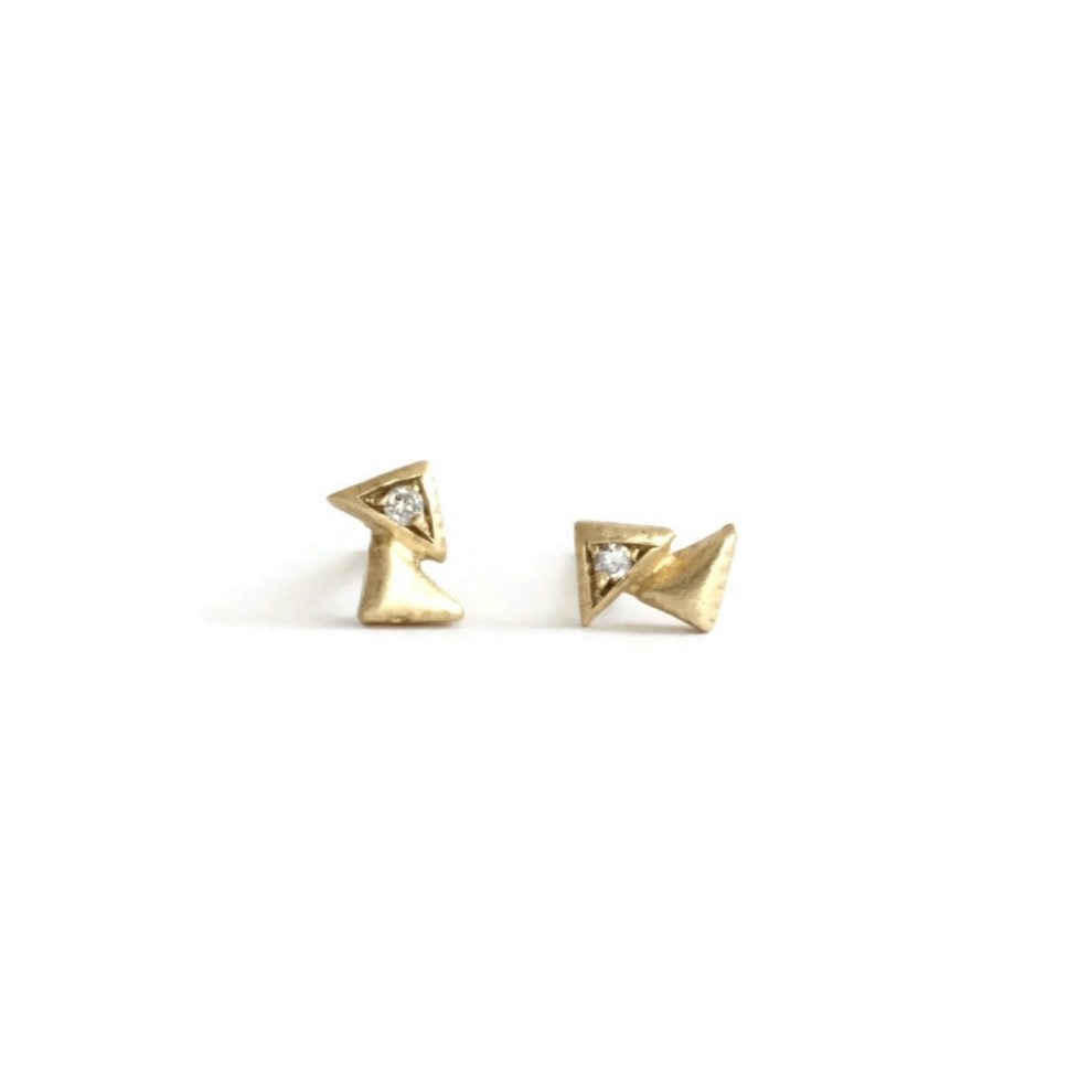 Double Triangle Diamond Studs