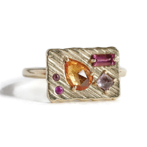 Collage Ring (Medium) -Orange Bouquet