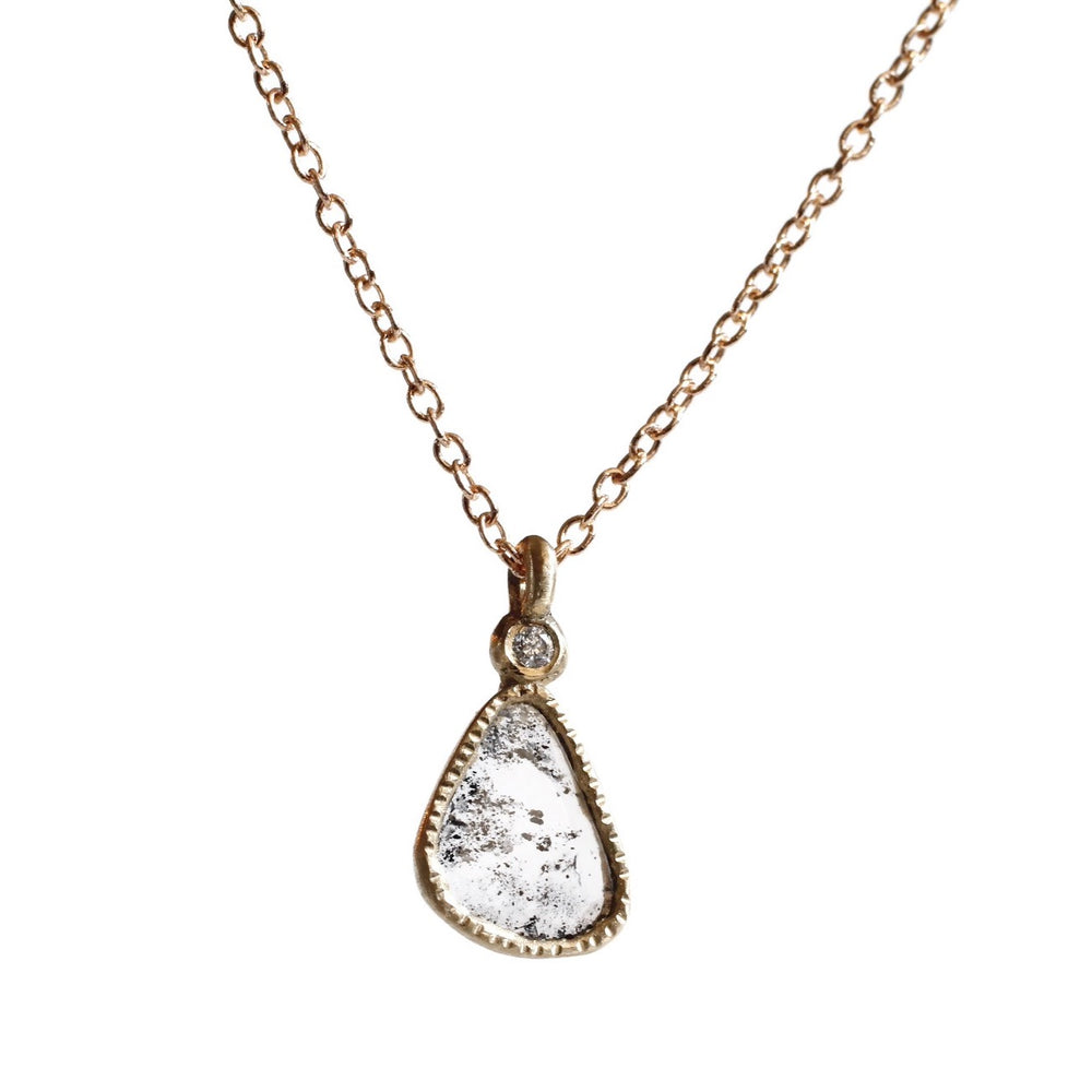 Diamond Slice Necklace -Gray Tear